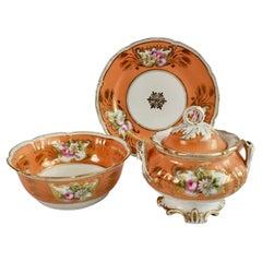 German Porcelain Sucrier Set, Orange with Flowers, Rococo Revival, ca 1860
