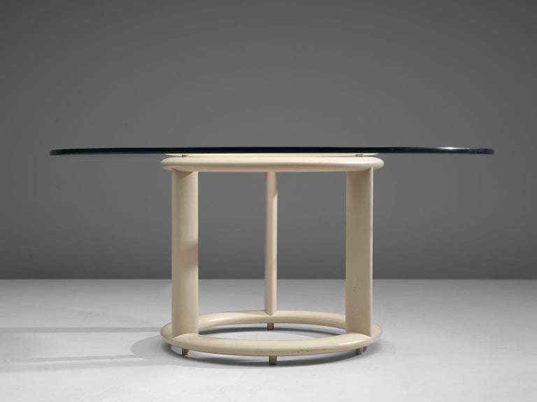 Mid-Century Modern German Postmodern Round Dining Table with Glass Top For Sale
