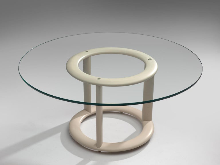 German Postmodern Round Dining Table with Glass Top In Good Condition For Sale In Waalwijk, NL