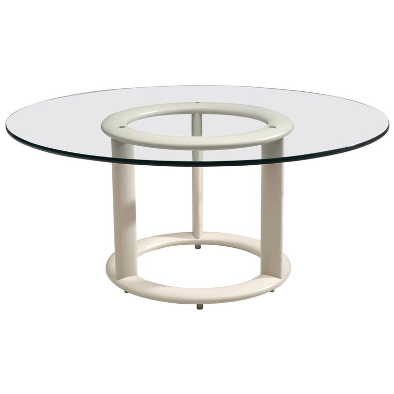 German Postmodern Round Dining Table with Glass Top For Sale
