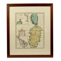 German Print Depicting Sardinia Malta and Corsica, 1712