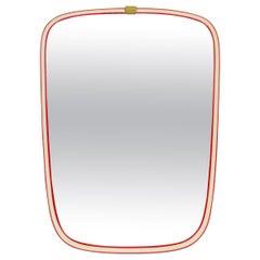 German Red Framed Asymmetrical Wall Mirror by Arax Zierspiegel, 1960s, Germany