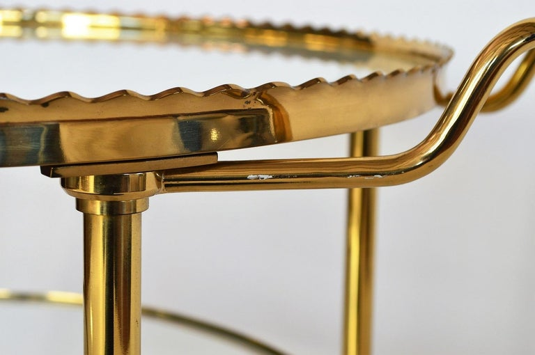 German Regency Brass Bar Cart or Trolley with Crystal Glass Inserts, 1970s For Sale 5