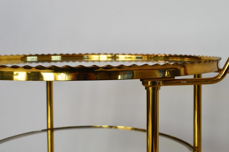 German Regency Brass Bar Cart or Trolley with Crystal Glass Inserts, 1970s For Sale 6