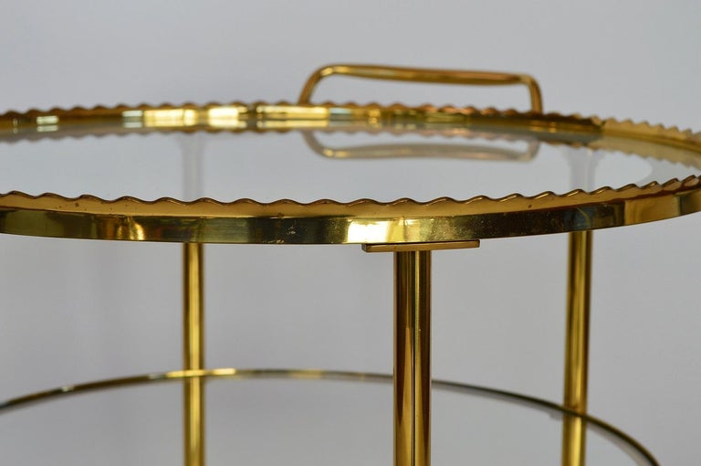 German Regency Brass Bar Cart or Trolley with Crystal Glass Inserts, 1970s For Sale 11