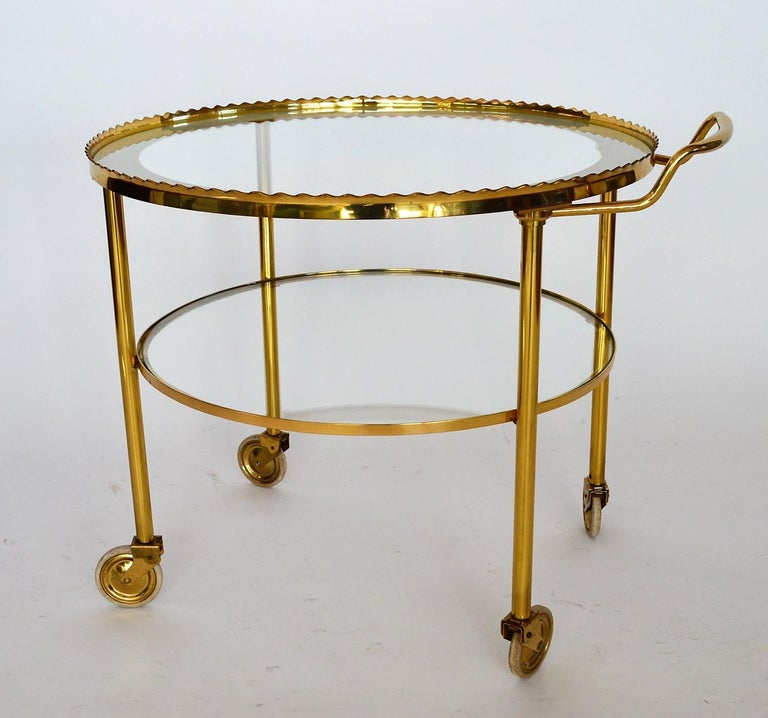 Late 20th Century German Regency Brass Bar Cart or Trolley with Crystal Glass Inserts, 1970s For Sale