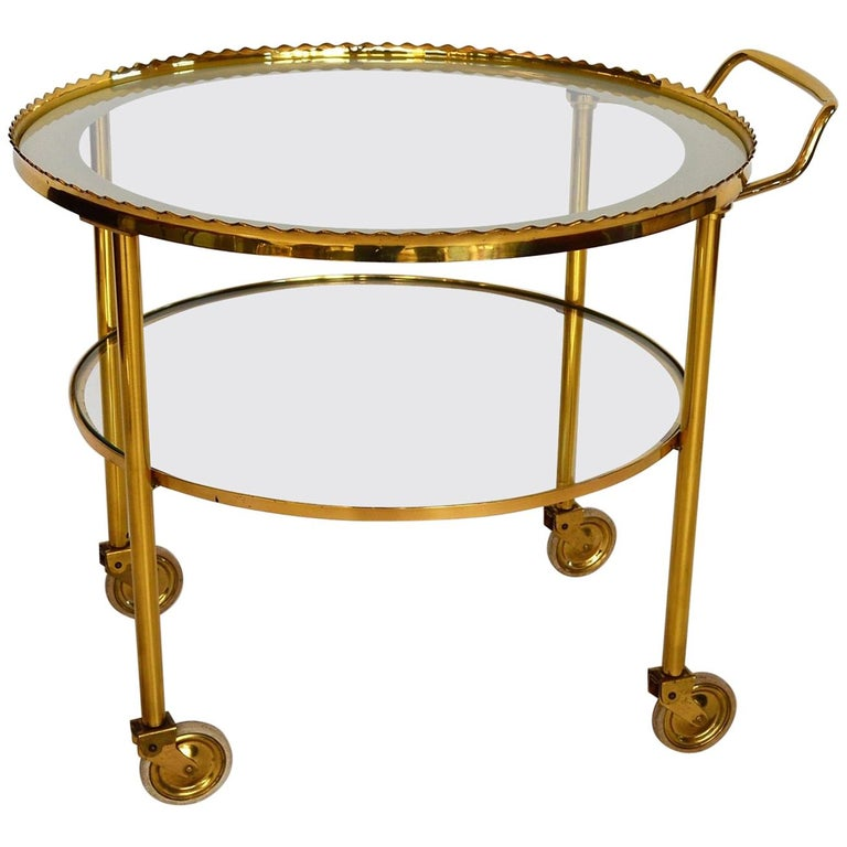 German Regency Brass Bar Cart or Trolley with Crystal Glass Inserts, 1970s For Sale