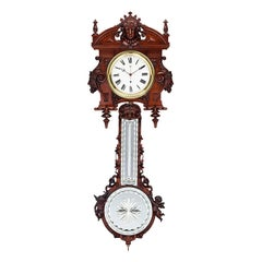 German Regulator Pinwheel Clock with Wood Pendulum