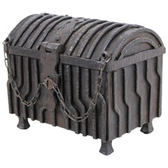 German Renaissance Revival Wrought Iron Strong Box with Lock Chain