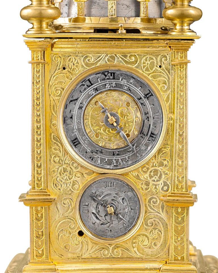 Gilt German Renaissance Turret Clock For Sale