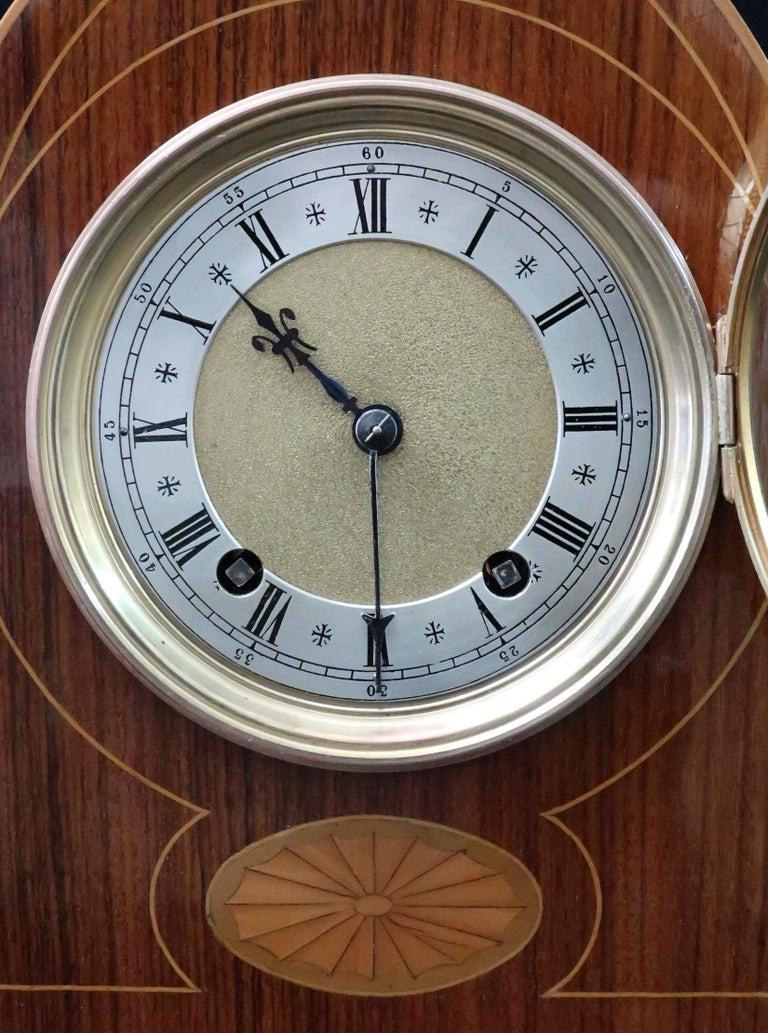 Victorian German Rosewood Ting Tang Striking Mantel Clock by Winterhalder & Hofmeier For Sale