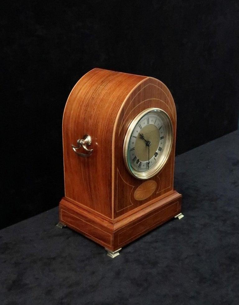 Inlay German Rosewood Ting Tang Striking Mantel Clock by Winterhalder & Hofmeier For Sale