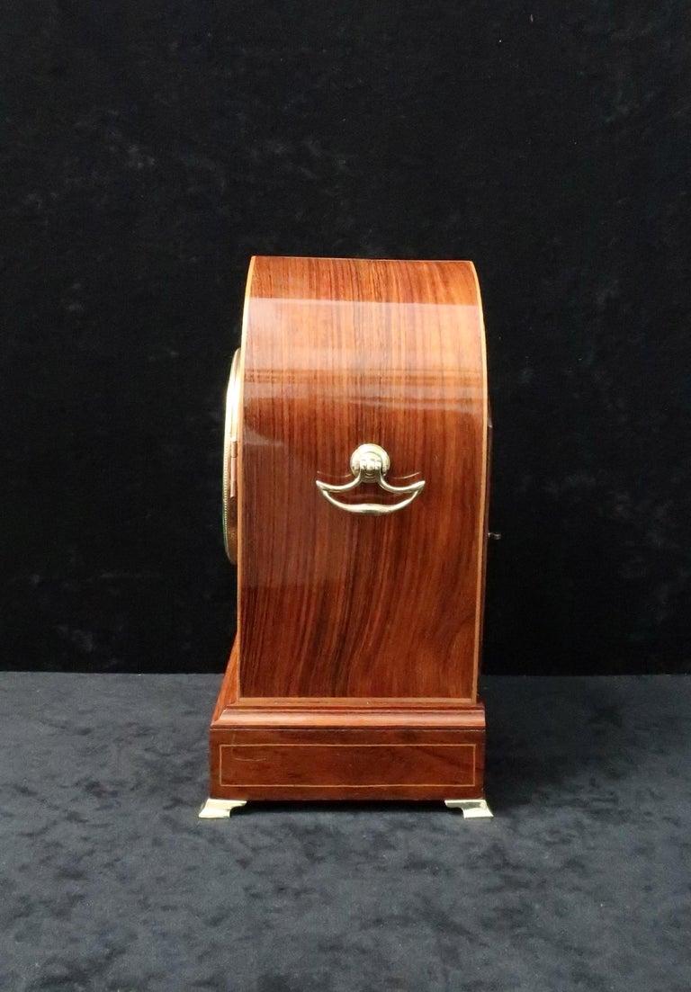 German Rosewood Ting Tang Striking Mantel Clock by Winterhalder & Hofmeier In Good Condition For Sale In Macclesfield, GB