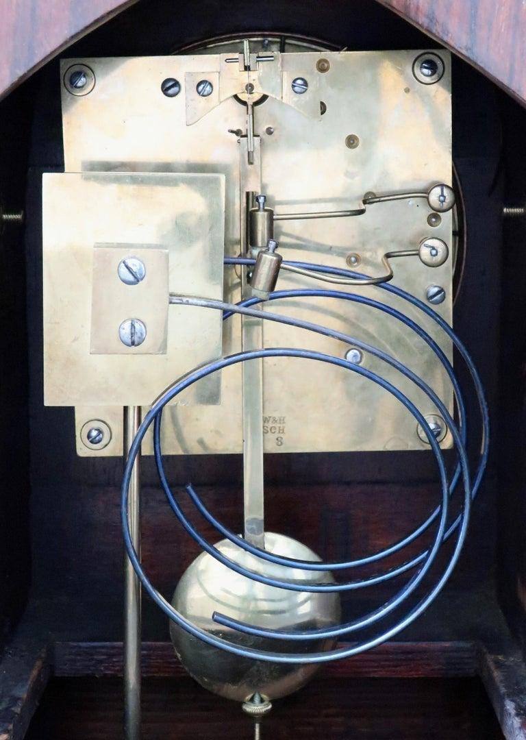 Boxwood German Rosewood Ting Tang Striking Mantel Clock by Winterhalder & Hofmeier For Sale