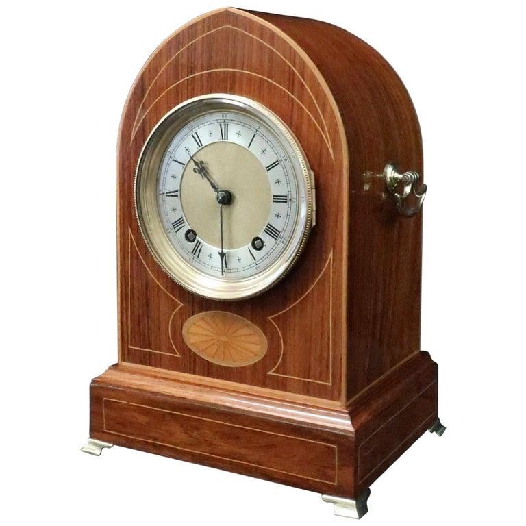 German Rosewood Ting Tang Striking Mantel Clock by Winterhalder & Hofmeier For Sale