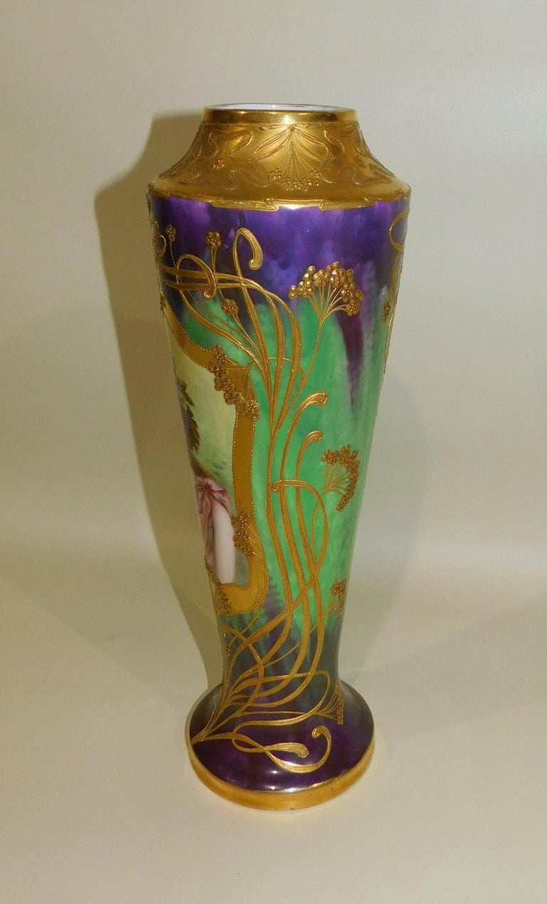 German Royal Vienna Art Nouveau Portrait Vase Porcelain Gold Gilding For Sale At 1stdibs