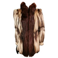 German sable fur coat fox fur trim size 12-14