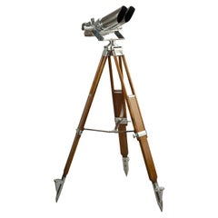 German Schneider Observation Binoculars, on Wooden Tripod Stand