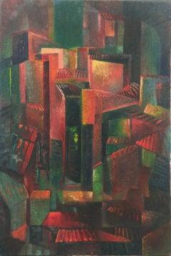 'Expressionist Cityscape', German Avante-Garde Oil, Fritz Laing, Metropolis
