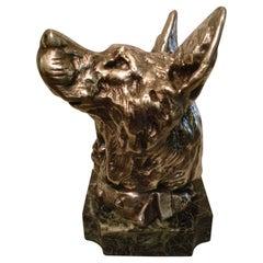 German Shepherd Dog Bust Paperweight Sculpture / France, 1910