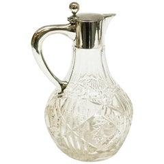 German Silver 800/1000 Mounted Crystal Cut Glass Water Jug