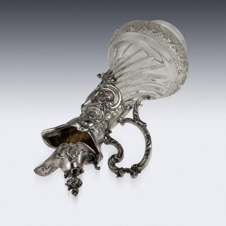 German Silver and Cut-Glass Massive Claret Jug, circa 1890 In Good Condition For Sale In London, London