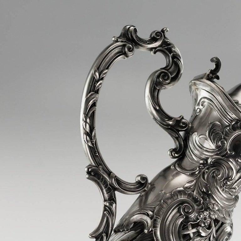 19th Century German Silver and Cut-Glass Massive Claret Jug, circa 1890 For Sale