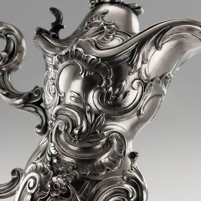 German Silver and Cut-Glass Massive Claret Jug, circa 1890 For Sale 2