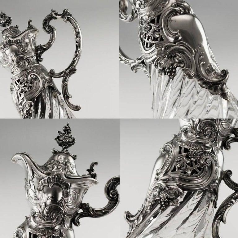 German Silver and Cut-Glass Massive Claret Jug, circa 1890 For Sale 3