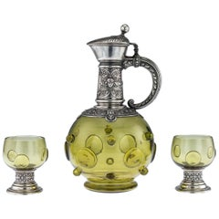 German Silver and Green Glass Claret Jug and Goblets, circa 1890