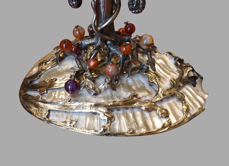 German Silver and Semi-Precious Stone Baroque Style Adam and Eve Theme Tazza For Sale 1