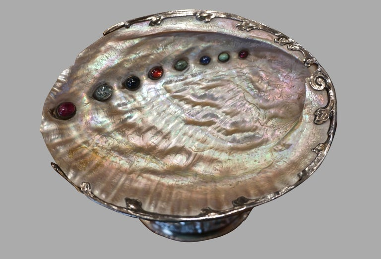 German Silver and Semi-Precious Stone Baroque Style Adam and Eve Theme Tazza For Sale 2