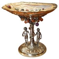 German Silver and Semi-Precious Stone Baroque Style Adam and Eve Theme Tazza