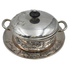German Silver Butter Dish and Covered Bowl Tureen in Art Nouveau Style