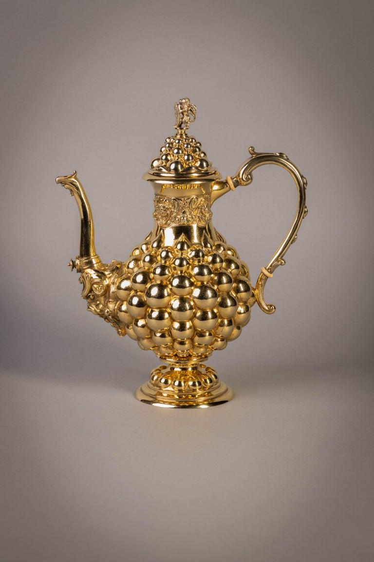 German Silver Gilt Tea and Coffee Service, circa 1875 For Sale 14