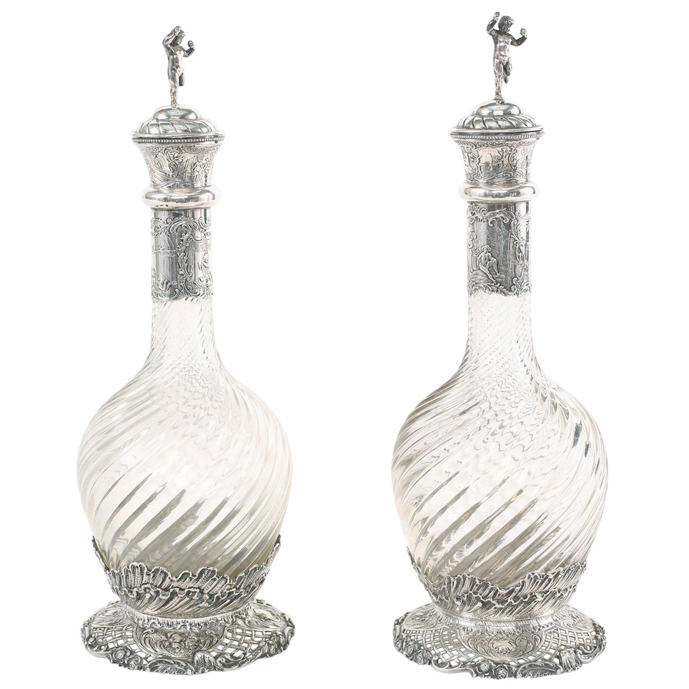 German Silver Mounted / Cut Glass Pair Claret Jugs