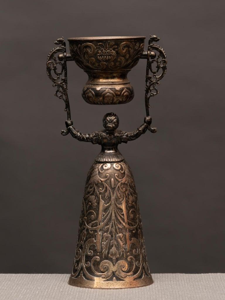 Folk Art German Silver Wedding Cup For Sale