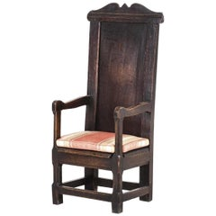 German Solid Oak Armchair / Throne, 16th Century