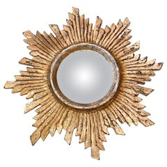 German Starburst Sunburst silvered Shabby Chic White Convex Mirror, circa 1970s