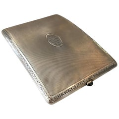 German Sterling Silver Cigarette Case with a Sapphire Stone