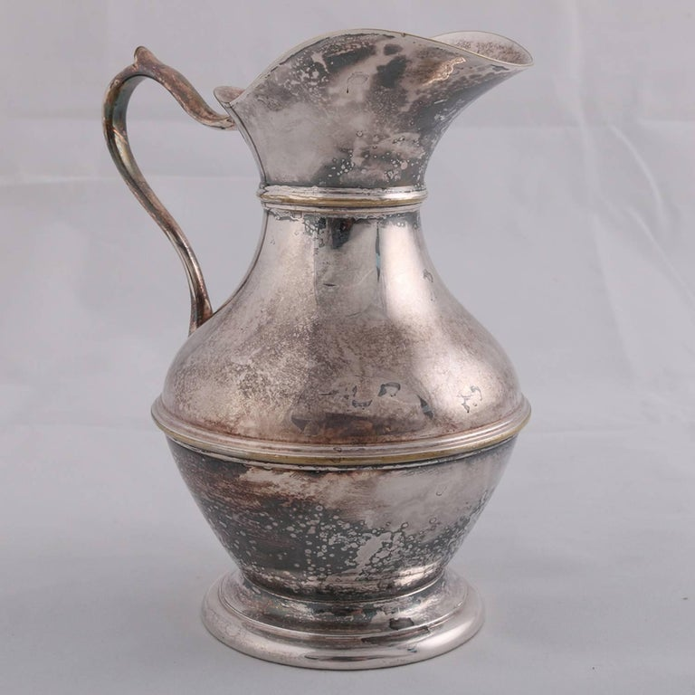 German sterling silver hallmarked Georgian style pitcher features hourglass form with scroll handle, touch marks on base include rampant lion, possibly Darmstadt, 9.4 toz, 19th century  ***DELIVERY NOTICE – Due to COVID-19 we are employing