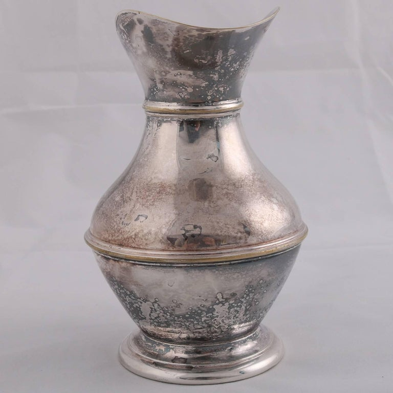 English German Sterling Silver Georgian Style Pitcher 9.4 toz Darmstadt, 19th Century For Sale
