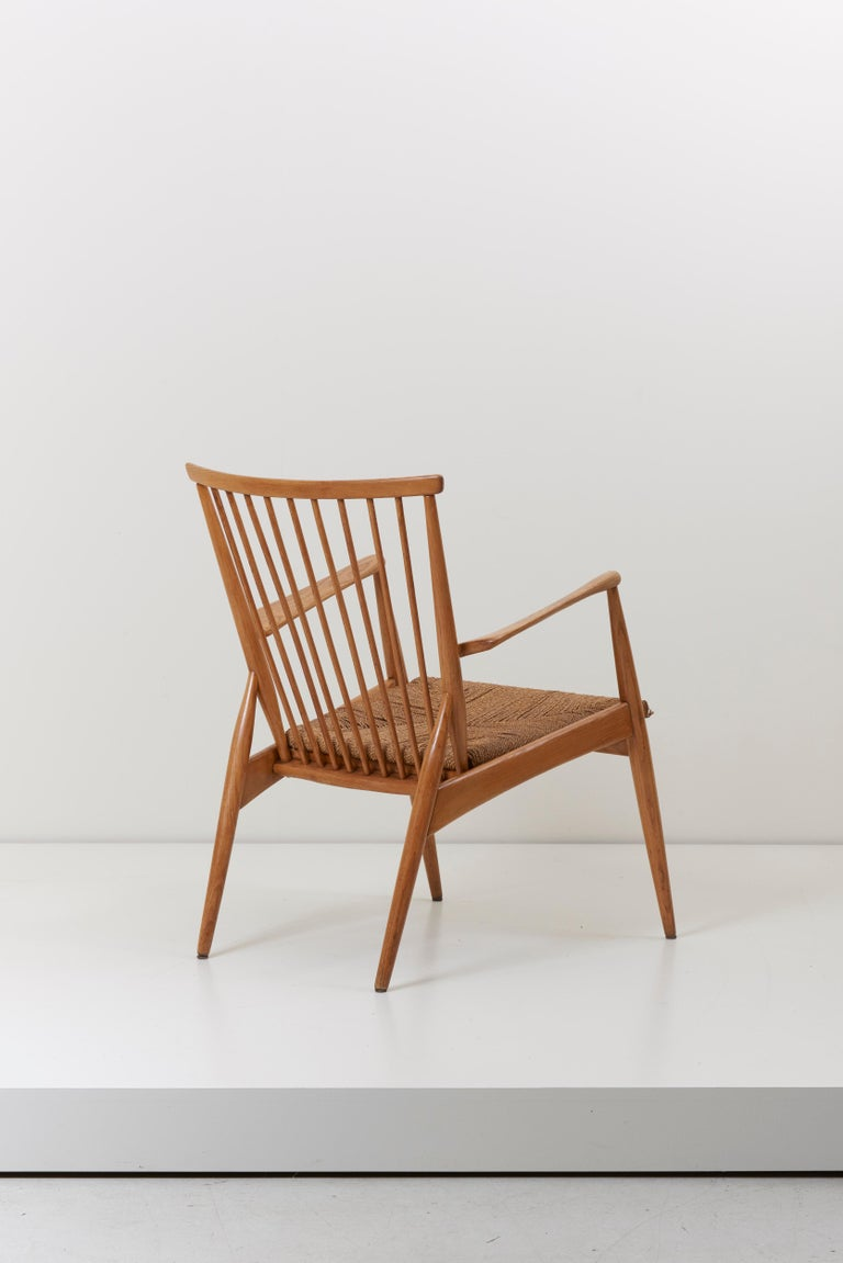 Mid-20th Century German Studio Lounge Chairs in Ash and Papercord For Sale