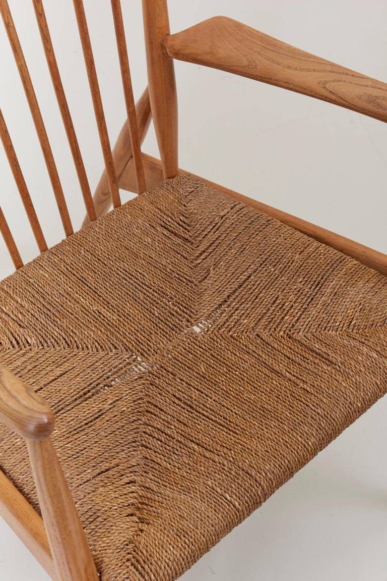 German Studio Lounge Chairs in Ash and Papercord For Sale 3