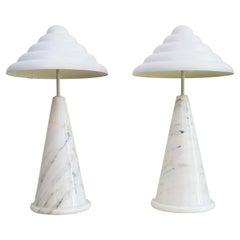 German Table Lamps in Carrara Marble Memphis Style by Vereinigte Werkstätten