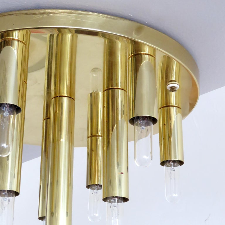 German Ten-Light Flush Mount Light Panel In Excellent Condition For Sale In Los Angeles, CA