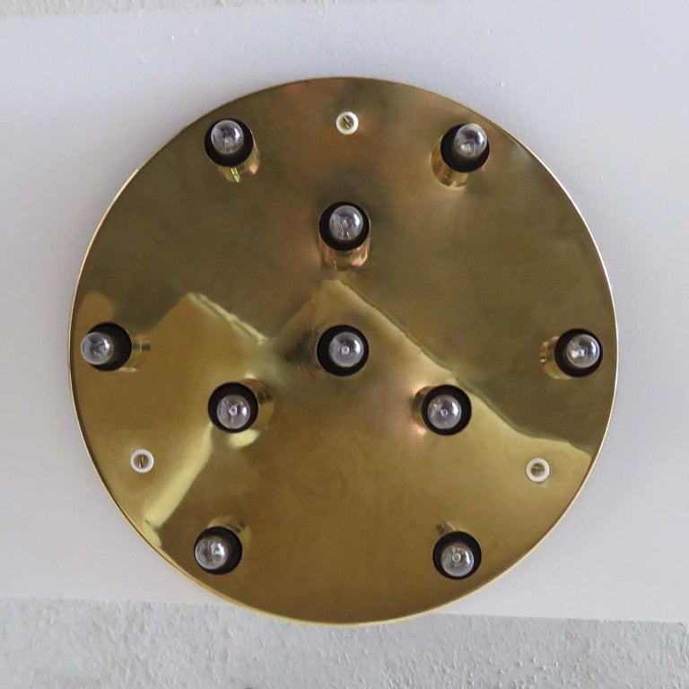Late 20th Century German Ten-Light Flush Mount Light Panel For Sale