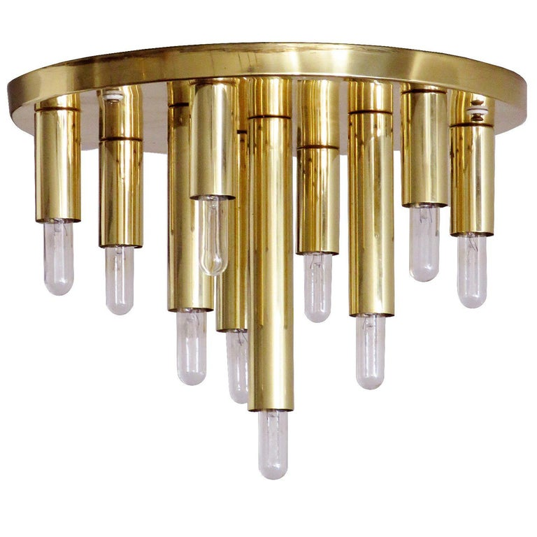 German Ten-Light Flush Mount Light Panel For Sale