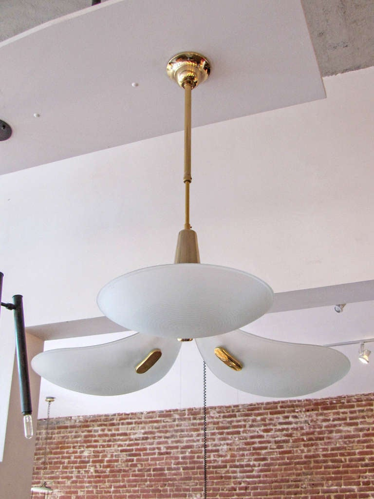German Three Arm Chandelier, 1980 In Good Condition For Sale In Los Angeles, CA