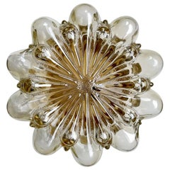 German Vintage Amber Glass Ceiling or Wall Light Flushmount, 1960s